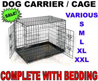 Folding Dog Cat pet Crate Cage Carrier Folds flat & Bedding 24 30 36