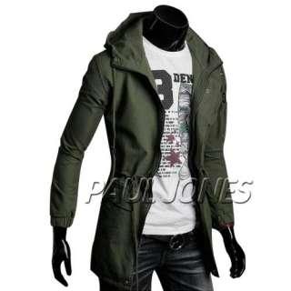 PJ New Fashion Korea Mens Slim Hooded Style Long Trench Coat 3 Color 4