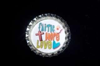 FAITH HOPE LOVE PEACE JOY ~ CHRISTIAN BOTTLE CAP CHARMS