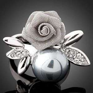 Swarovski Crystal pearl rose fashion finger Rings J0268