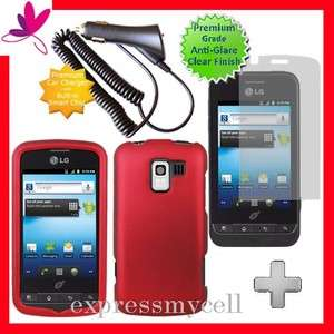 + Screen + RED Hard Case Cover for Straight Talk NET 10 LG OPTIMUS Q