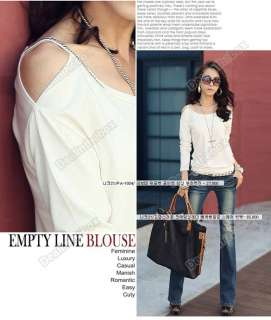 Fashion Womens Lady Cotton Blends Long Sleeve Sexy Shoulder T Shirt