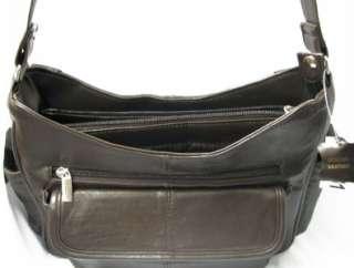 NWT New Genuine Leather Satchel Shoulder Bag Purse Medium Brown