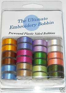 24 Embroidery Bobbins Assorted colors thread Style L