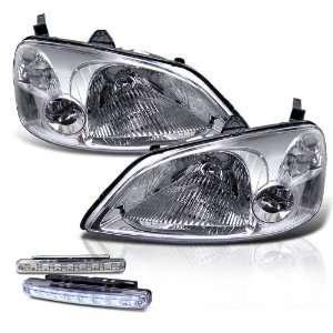 2003 Honda Civic 2/4 Door Chrome Head Lights + LED Bumper Fog Lamp New