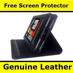 Genuine Leather Folio Case Pouch Cover W/Stand for  Kindle Fire
