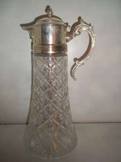 Plated EP Zinc Italy 14in Glass Water Pitcher ~ Hinged Lid