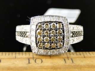 LADIES WOMENS WHITE GOLD CHOCOLATE BROWN DIAMOND WEDDING BAND RING 1/2
