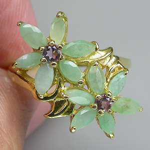 GORGEOUS NATURAL TOP RICH GREEN EMERALD AMETHYST 925 SILVER RING SIZE
