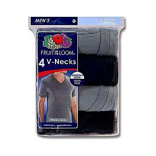 Mens Big & Tall V Neck T Shirts   4 Pk Black & Gray  Fruit of the