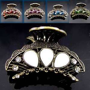 SHIPPING 1pc rhinestone crystal Antiqued flower hair claw clip