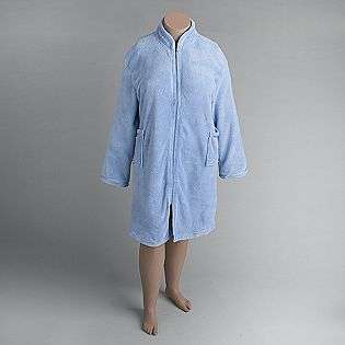 Womens Plus Fleece Zip Front Robe  Hotel Spa Clothing Intimates