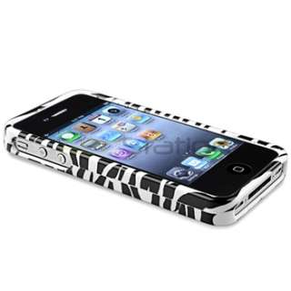 White/Black Zebra Hard Clip on Case Cover for iPhone 4 4th G 4S USA