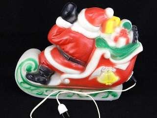 70s EMPIRE Blowmold LIGHTED PLastic SANTA & Sleigh CHRISTMAS Blow MOLD