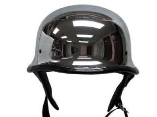 DOT German Silver CHROME Motorcycle Half Helmet Biker~S