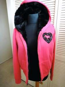 VICTORIAS SECRET LOVE PINK BLACK FAUX FUR LINING HOODIE JACKET PINK L