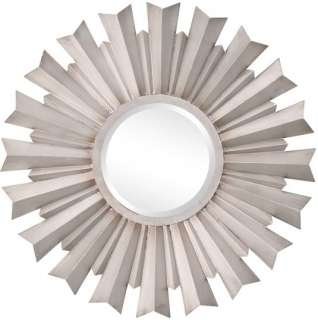 MODERN Antique Silver Round Starburst WALL MIRROR Medallion Metal