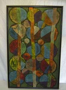 Modern Abstract Original Op Art Textile Fabric Tie Dye Wall Art
