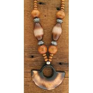 Wood Bead with Half Circle Necklace Set of 3   Each