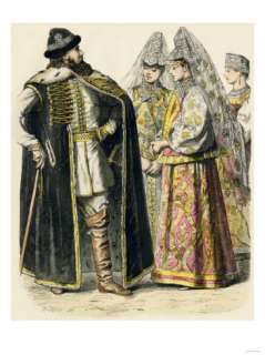 Russian Noble and Ladies in Summer Dress, 1700s Giclee Print at