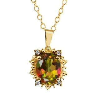 2.32 Ct Oval Mango Mystic Topaz and Topaz Gold Plated