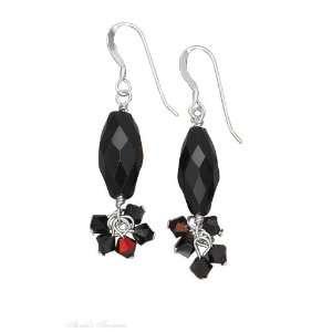 Black Onyx Bead Earrings Black Aurora Borealis Crystal D Jewelry