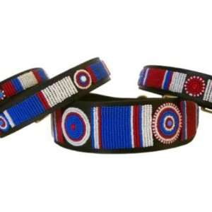 Fully Beaded Dog Collar   Red/White/Blue