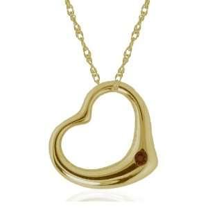 14k Yellow Gold Smoky Quartz Heart Pendant, 17 Jewelry