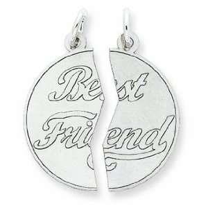 Sterling Silver 2 Piece Best Friend Disc Charm Jewelry
