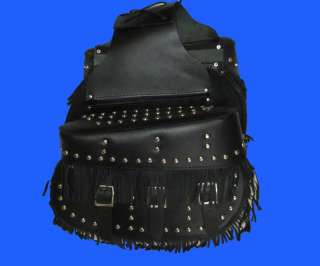 Studs Fringe Leather Throwover Motorcycle Saddle Bags