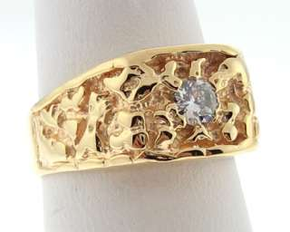 Estate Genuine Diamond 14k Yellow Gold Nugget Ring