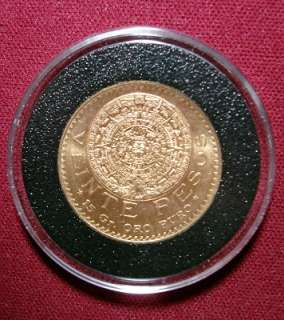 Gold Mexican 20 Pesos Coin Pure Gold in this Beautiful 20 Pesos Coin