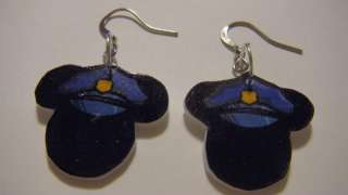 Disney Mickey Mouse Police officer cop Hat cap Earrings