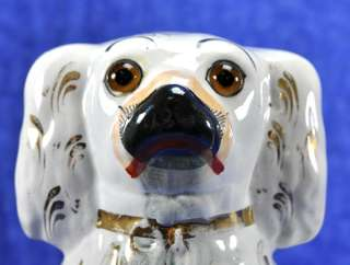 Pair 2 Antique Staffordshire Dog Figurines Gilt English