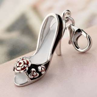 925 Sterling Silver Charm Pendant Lady High heel Shoes