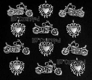 8pcs BIKER CHIC Charm Set   Motorcycles & Tribal Hearts Rally