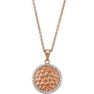 14K ROSE GOLD OVER STERLING CUBIC ZIRCONIA 16.00 INCH NECKLACE
