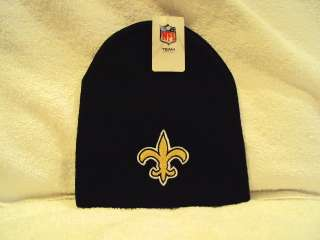 Logo NFL Black Embroidered Knit Cuffless Beanie Cap Hat NEW