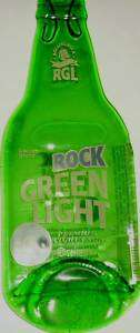 melted flat rolling rock light beer bottle