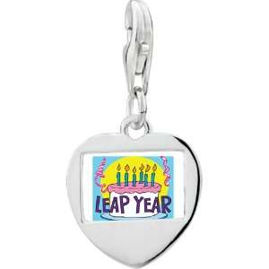 925 Sterling Silver Gold Plated Leap Year Birthday Cake Photo Heart