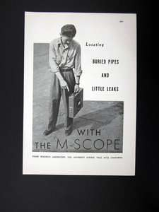 Research Lab M Scope Buried Pipe Finder Locator Leak Detectors 1944 Ad