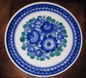 Fajans Pottery Handpainted Blue Floral Hanging Plate Dish Roses Wall