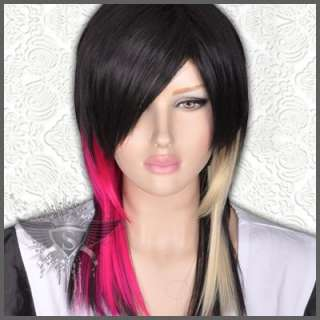 GW342 Black Cosplay Long Straight Gothic Punk Rock Wig