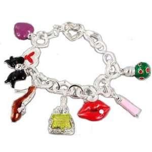 exy Lips, Shoe, Perfume, Hearts & Handbag Charm Bracelet Jewelry