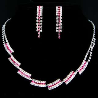 RED RUBY CRYSTAL *S315R* EARRINGS NECKLACE SETS