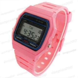 PVC LED Digital Boys Girls Alarm Chronograph Wrist Watch Sports Style