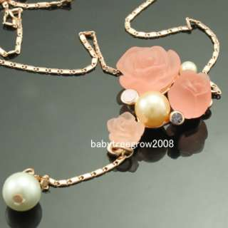 18K Rose Gold GP Pink Flower Swarovski Crystal Jewelry Set Necklace