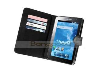 BLACK LEATHER CASE WALLET FOR SAMSUNG GALAXY TAB P1000