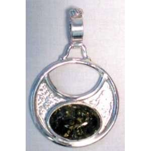 Sterling Silver Cresent Moon With Green Amber Stone
