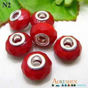 5x Red Faceted Crystal Glass Bead Fit Charm Bracelet N2
